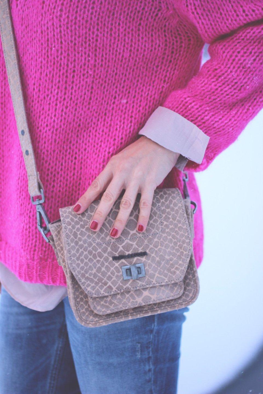 pink und beige, strickpullover, casual, leomantel, anklejeans, fredsbruder, oui, crazybite, windsor, seidenbluse, conny doll