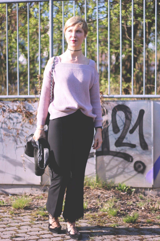 schulterfreien Pullover, rose, casual, conny doll, abends, tagsüber, Münchenblogger, Spitze, Ballerina, schwarz