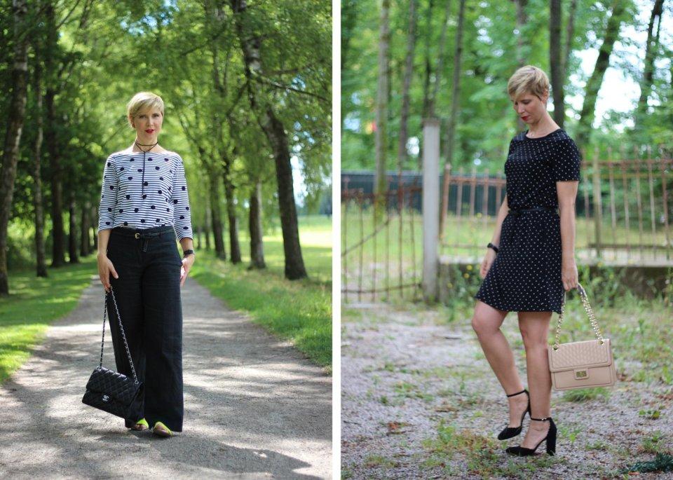 Punkt mit schwarz-weiß, Tchibo, weite Hose, Shirt, Streifen, Conny, Kleid, ausgestellst
