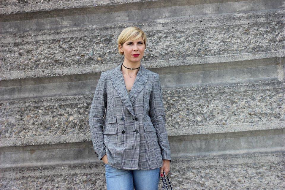 Glencheck-Blazer, Mango, Schottenkaro, Conny Doll, Fashionblog, Munichblogger, 7/8-Jeans, casual-chic