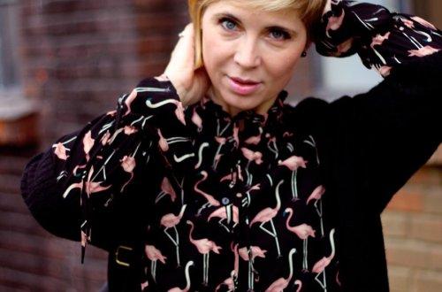 Flamingo, Druck, Kleid, lange Ärmel, Munichblogger, Strumpfhose, Long-Cardigen, Conny Doll