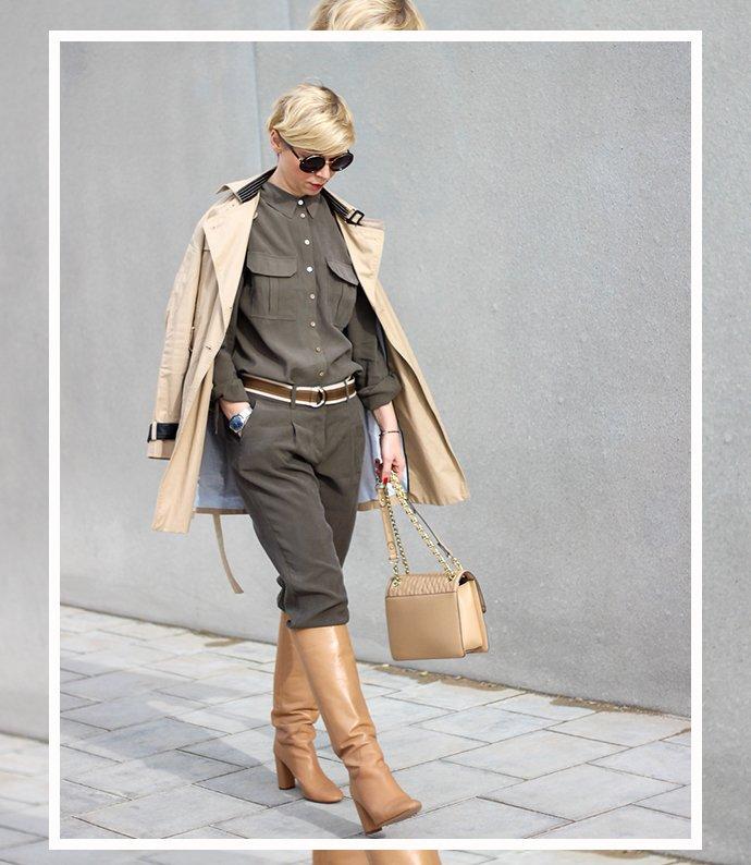 conny doll lifestyle: Utilitystyle fürs Büro, Stiefel, TONI Fashion, Trenchcoat, gruen, Zweiteiler