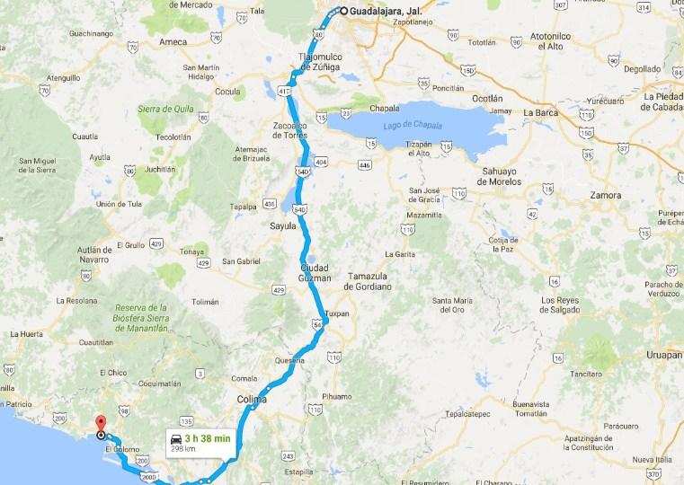 como llegar de Guadalajara a Mazanillo