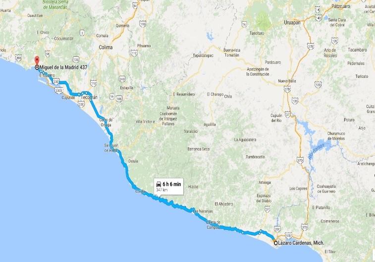 como llegar de La Costera a Manzanillo