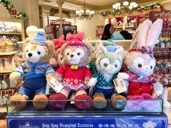 クリスマスコスチュームのダッフィー、シェリーメイ、ジェラトーニ、ステラ・ルー