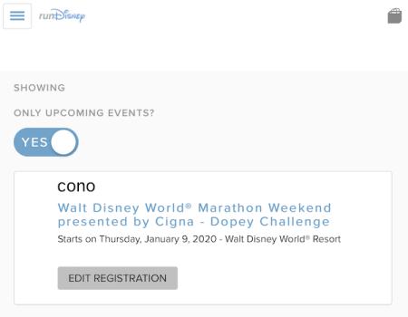 ランディズニー・ウォルト・ディズニー・ワールド・マラソン・ウィークエンドのアカウント画面