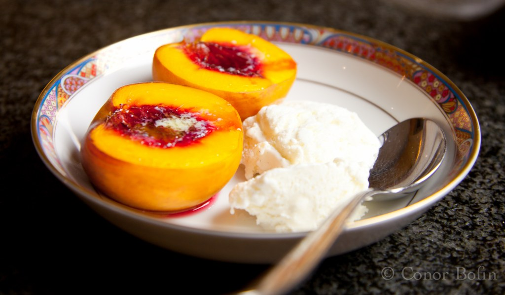 Roasted Peaches and ice cream