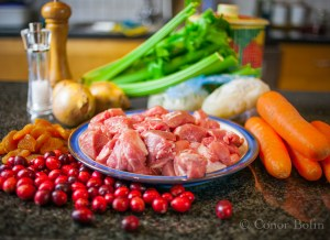 Pork, apricot and cranberry casserole