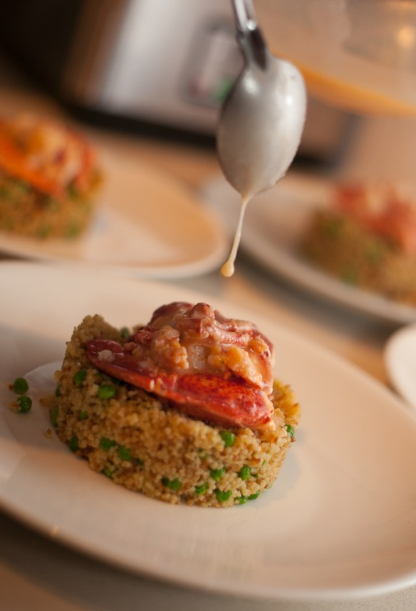 Sous vide lobster served on a bed of cous couse. Now you just have to go see the recipe.