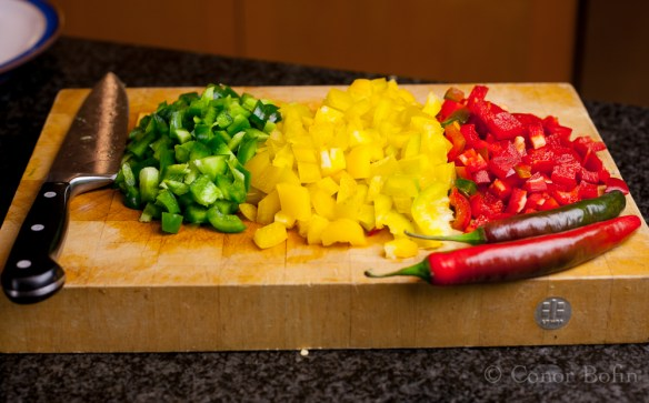 The peppers chopped and the chilis not. Pressure mounts.