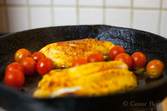No time to heat the oven to cook the tomatoes. Into the pan with them!