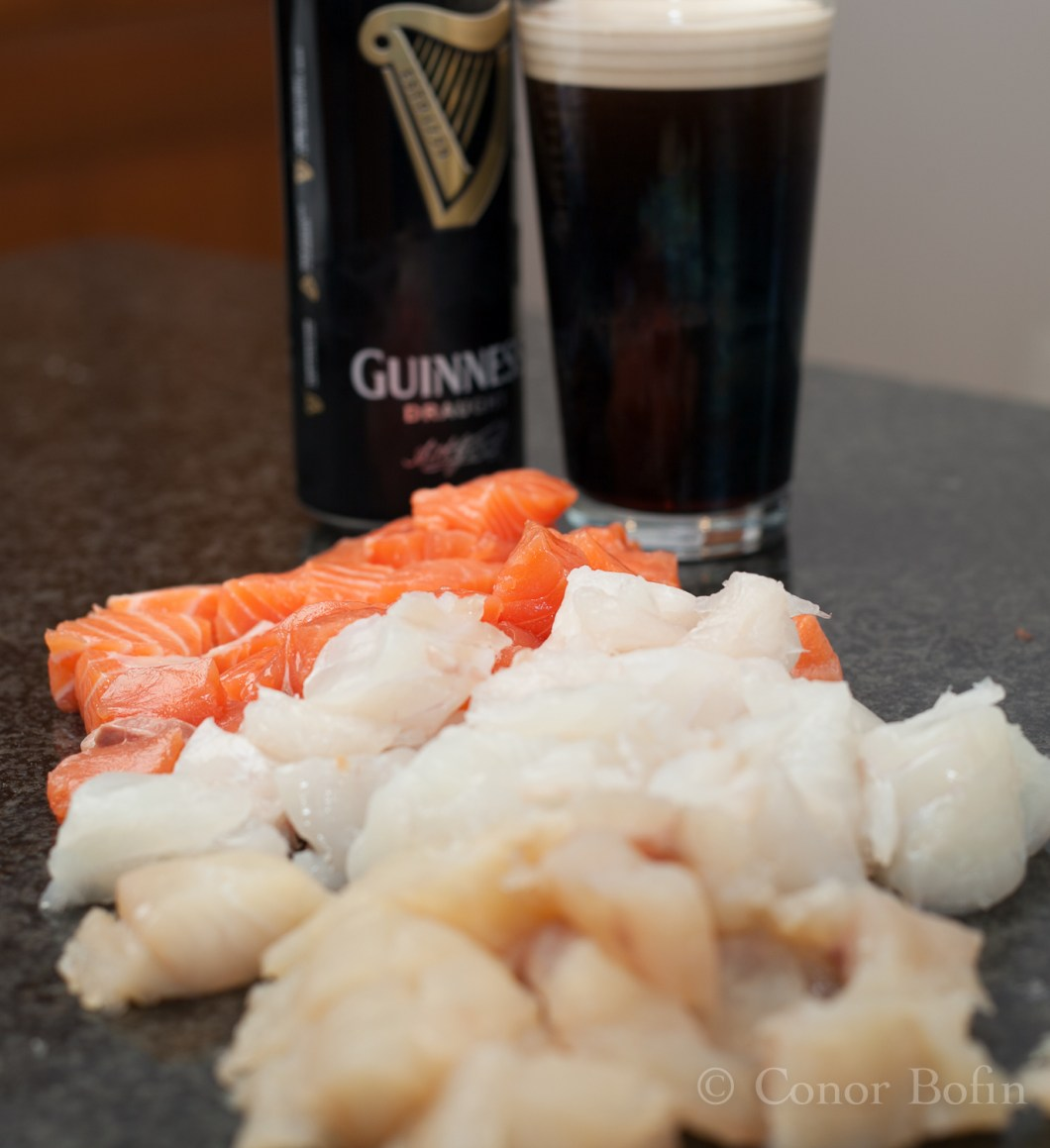 Chopped fish and Guinness
