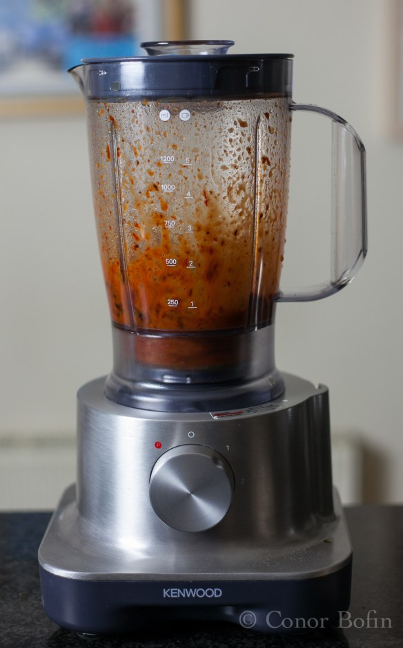 Splat - The chilis get blending.