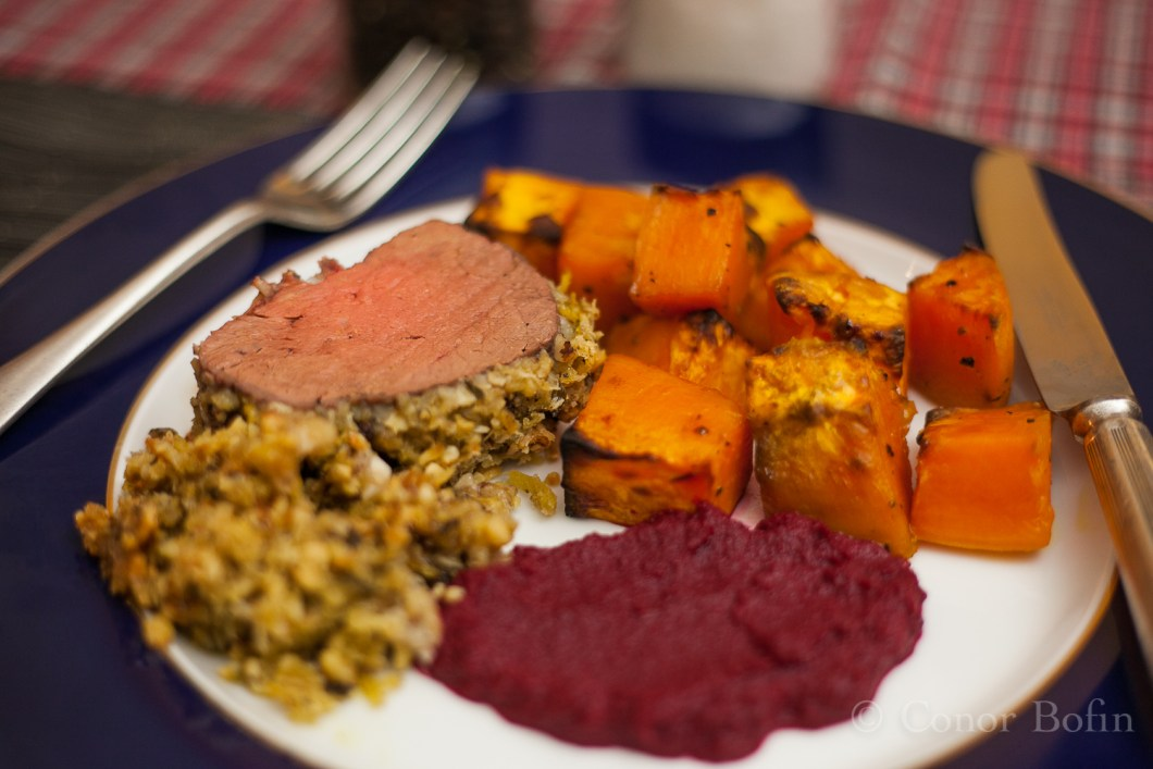 Beautiful beef, extra coating sweet potato and beetroot. Awesomely delicious.