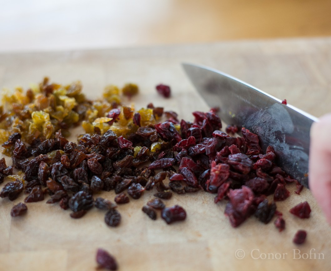 I used white raisins, raisins and cranberries. Lovely, if you will pardon me ringing my own bell.