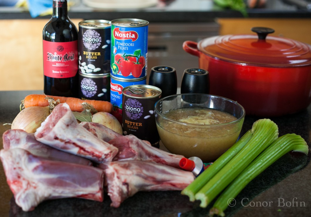 """Seven """"unavailable"""" lamb shanks and the rest of the ingredients."""