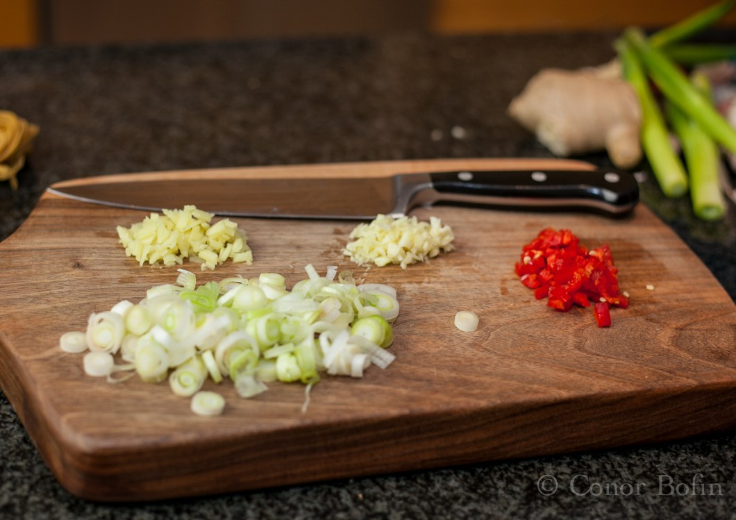 I used a Western knife to chop the ingredients to keep things mixed up.