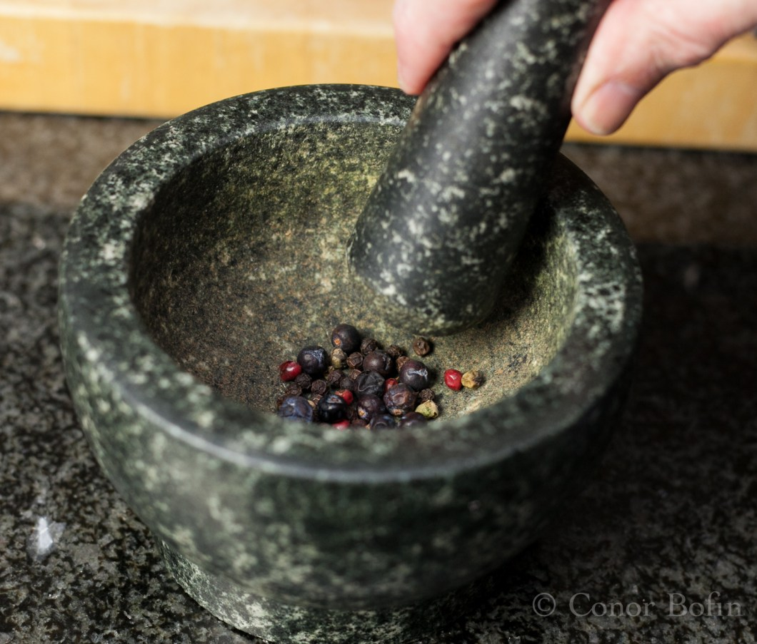 The juniper berries add a lovely flavour that works so well with the pepper.