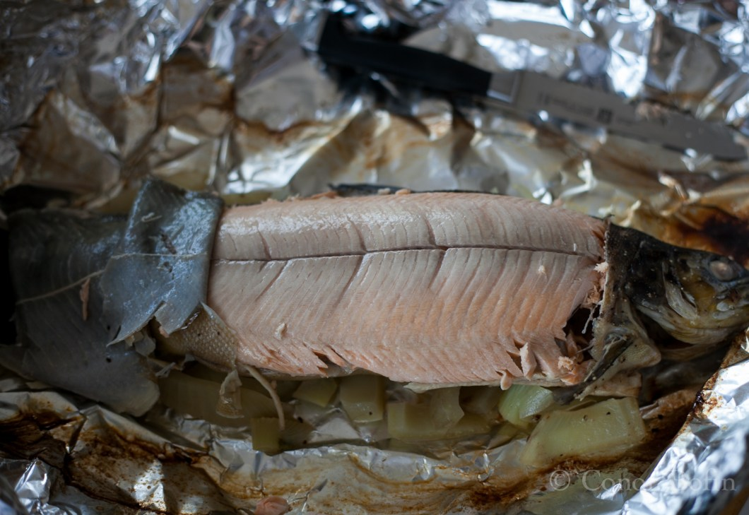 This is what a perfectly cooked trout from the West of Ireland looks like.