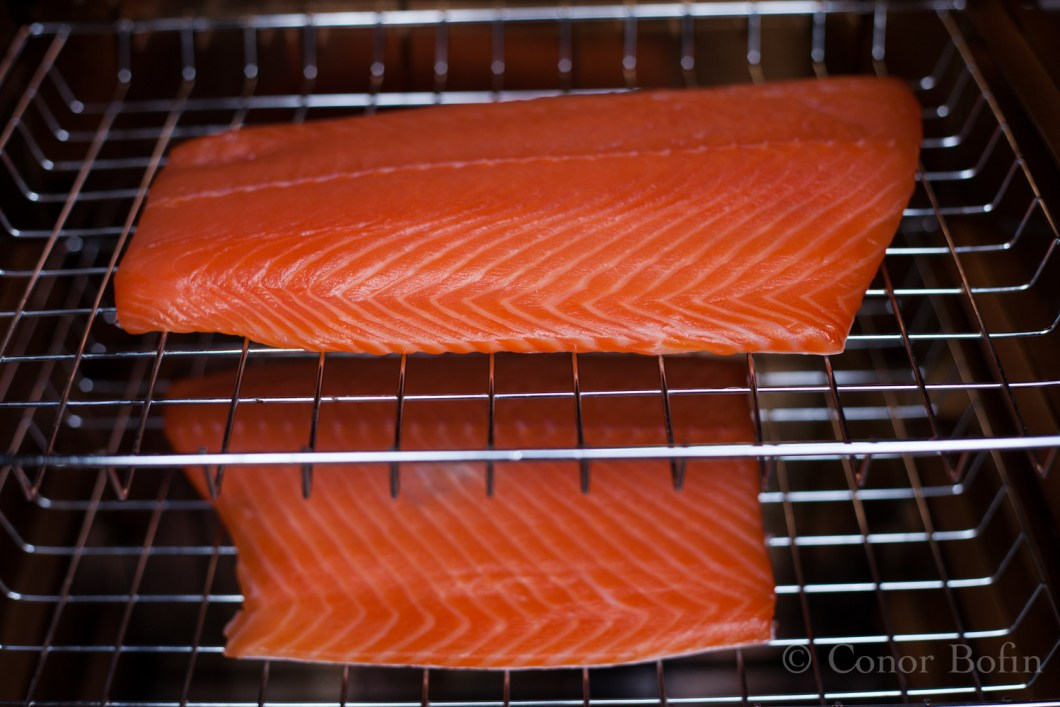 The salmon looks lovely before smoking.