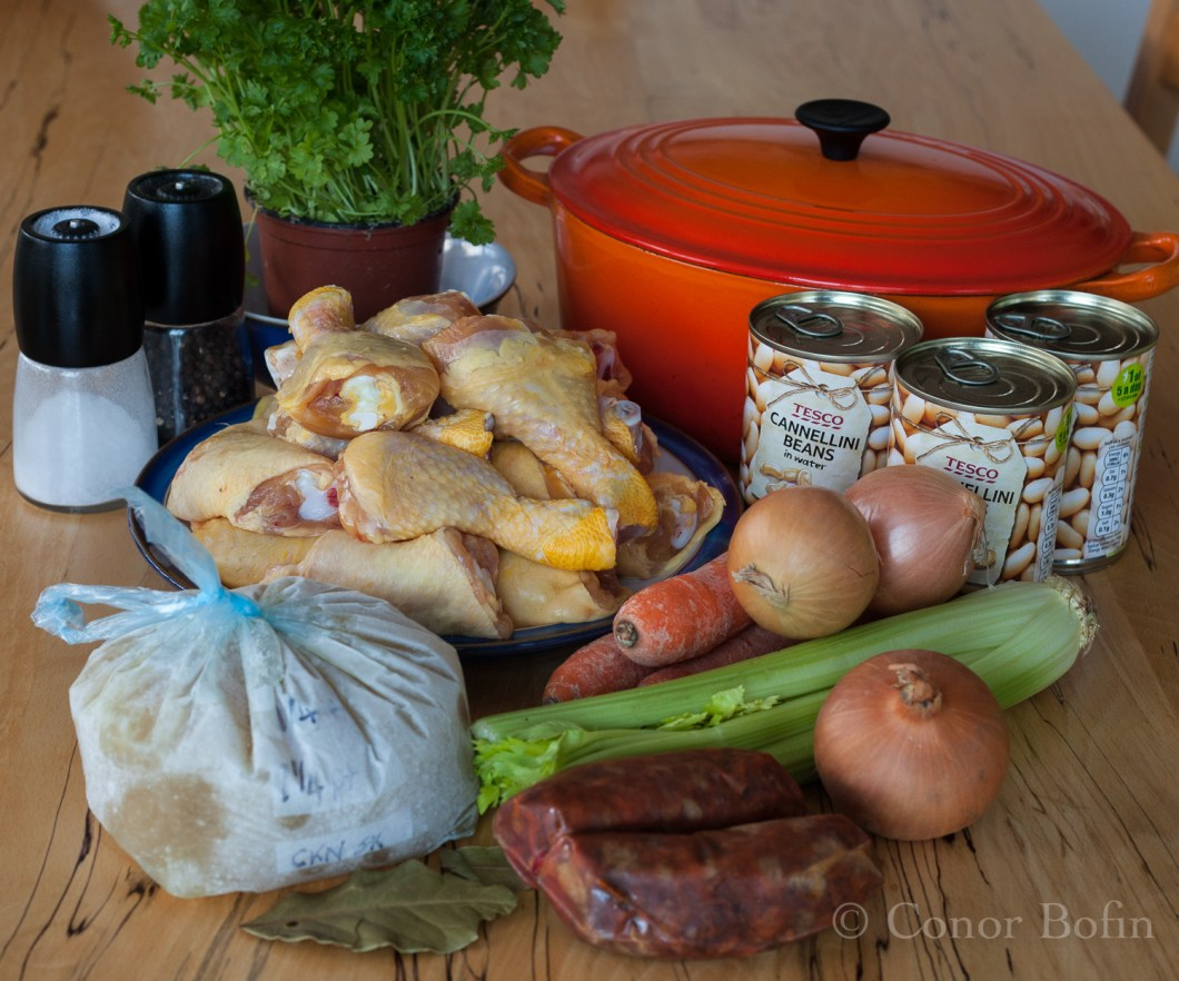 Chicken and been stew ingredients.