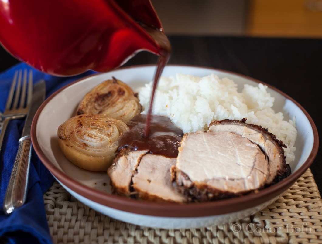 Pork with ancho and cherry sauce