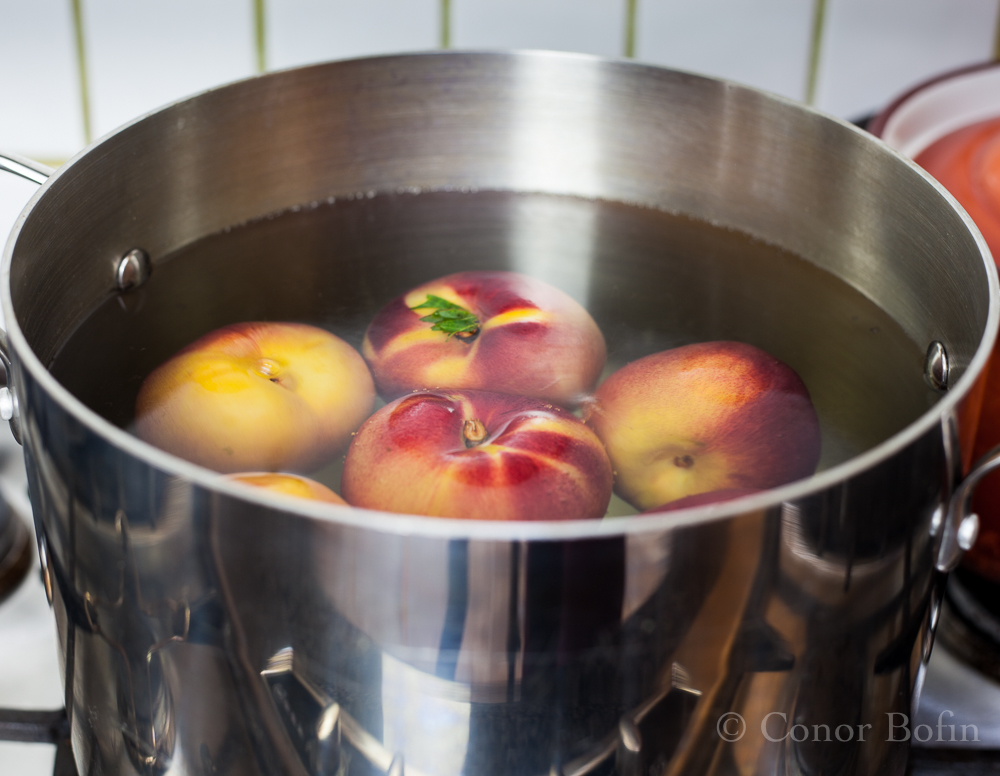 The peaches needed to be boiled like an old shirt. Not a great start...