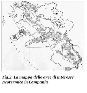 Mappa di interesse geotermico in Campania