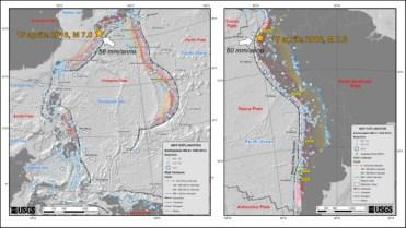 Figura 6: Le due mappe mostrano il contesto tettonico entro cui si inquadrano i terremoti del Giappone e dell'Ecuador. In entrambi i casi le aree colpite sono caratterizzate da una zona di subduzione, ma nel caso del terremoto del 15 aprile la faglia attivatasi è una struttura secondaria presente nella placca superiore. Questi due terremoti mostrano che il livello di danneggiamento delle aree colpite non dipende solo dalla magnitudo del terremoto ma anche dalla sua profondità. Le mappe sono tratte dal sito dell'USGS (http://earthquake.usgs.gov/).