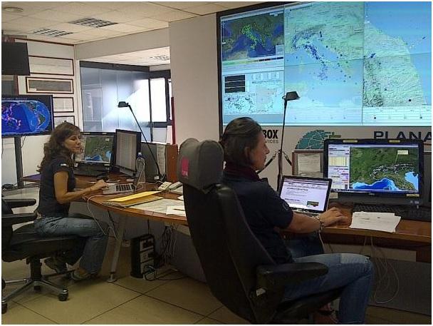La Sala Sismica INGV dove vengono analizzati in tempo reale i dati di tutti i terremoti italiani.