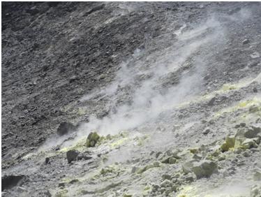 Fig. 7-Parete interna del cratere La Fossa con l'attività fumarolica e i depositi di zolfo. (Foto di Guglielmo Manitta)