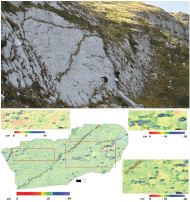 La superficie con orme di teropodi sul versante orientale del Monte Cagno (L'Aquila), e relativi modelli tridimensionali ottenuti dalle foto digitali acquisite in volo.