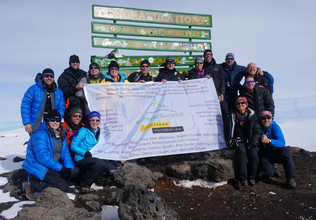 This is picture one. It's a beautiful picture of the team on the summit and don't they look tired? It's amazing what they were able to accomplish despite feeling hypoxic, sick, tired and hungry.