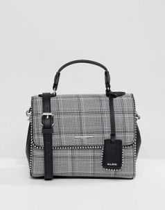 ALDO Grey Plaid Mini Tote Bag