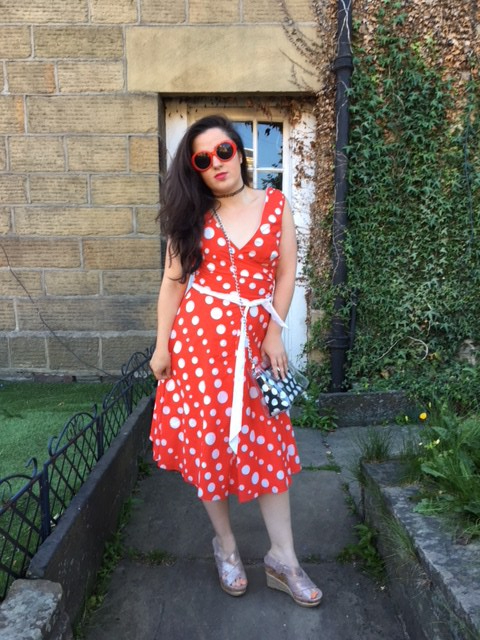 Red polka Dot Dress Outfit