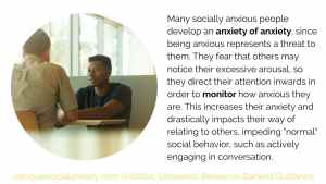 """Many socially anxious people develop an anxiety of anxiety, since being anxious represents a threat to them. They fear that others may notice their excessive arousal, so they direct their attention inwards in order to monitor how anxious they are. This increases their anxiety and drastically impacts their way of relating to others, impeding """"normal"""" social behavior, such as actively engaging in conversation."""