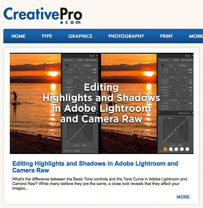Editing Highlights and Shadows in Adobe Lightroom and Camera Raw article on CreativePro.com