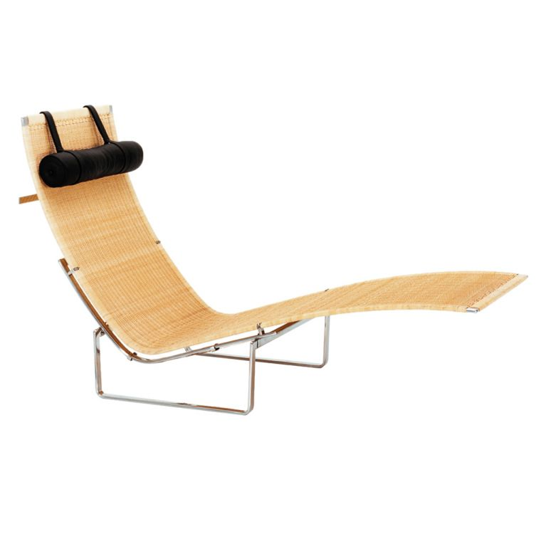 chaise longue pk24 osier et repose tete cuir fritz hansen