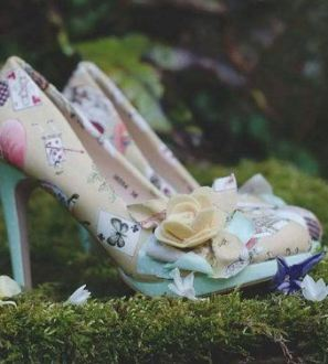 Stunning custom shoes made Alice in Wonderland beige and spring green high heels