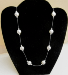 Swarovski glass crystal white floating coin pearl necklace with silver plated toggle clasp