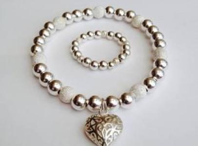 sparkle heart bracelet and ring