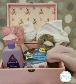 New Baby Girl baby shower gift box with card