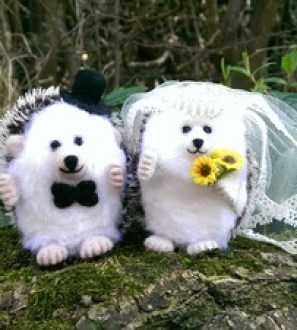 Mr and Mrs Needlefelt Hedgehog on their wedding day