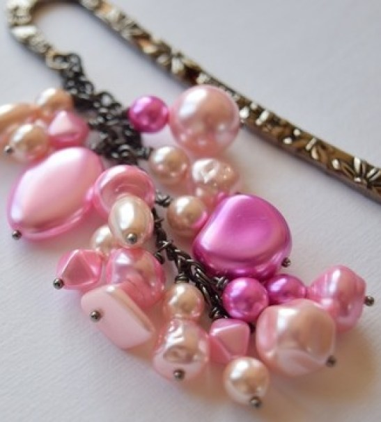 Pink Cluster Beaded Bookmark with Butterfly and Flower Detail