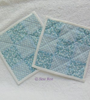 Set of 2 blue floral spotty and striped Mug Rug Coasters
