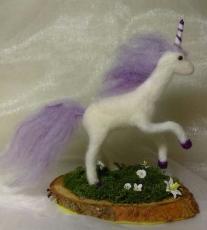 Needlefelt Miniature Unicorn ornament