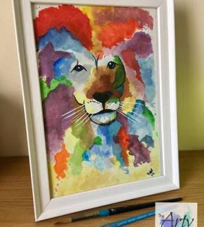 'The Colourful Lion' Original Signed A4 Framed Watercolour Painting