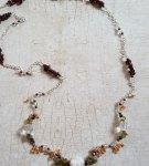 Garnet Carnelian shell flower necklace