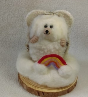 Rainbow Angel Hog Miniature Needlefelt Hedgehog
