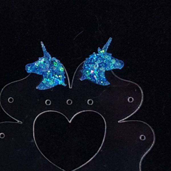 Resin unicorn glitter stud earring
